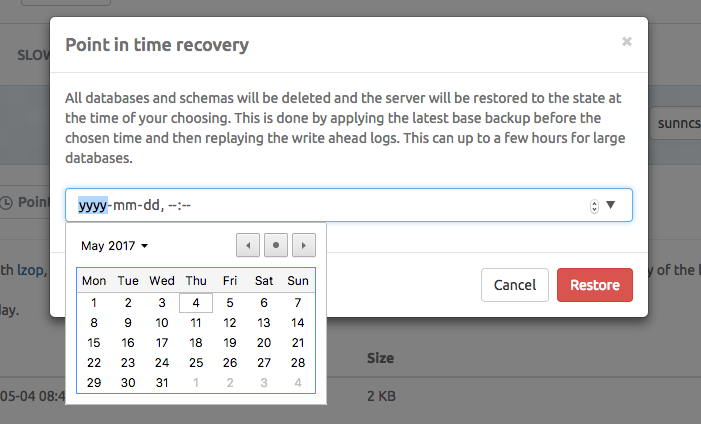 Point-in-time recovery